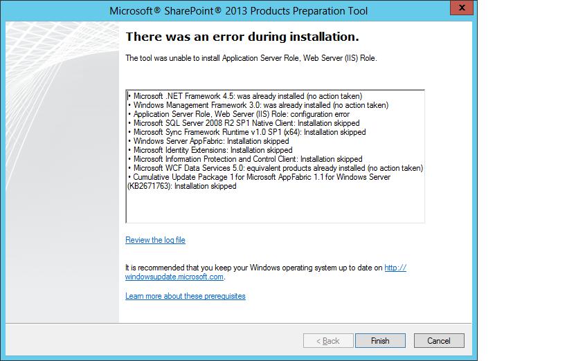 SP2013 Error - Pre-requisite App Server and Web Server