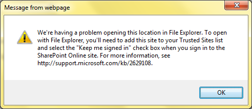 We re having a problem opening this location in file explorer